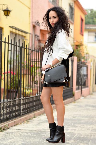 black ankle boots Zara boots - black skater Forever 21 shirt