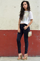 navy Zara jeans - white dotted Zara bag - burnt orange naughty monkey sandals