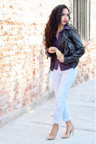 black biker Zara jacket - light blue boyfriend jeans Zara jeans