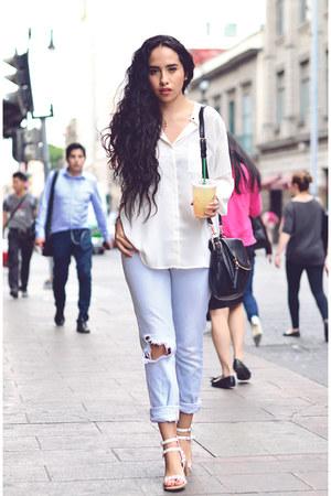 sky blue denim Zara jeans - white silk Mango blouse