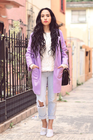 light purple maxi Sheinside coat - light blue ripped Zara jeans