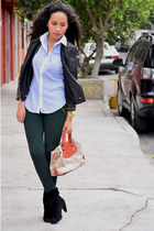 black Westies boots - black leather Zara jacket - blue Zara shirt