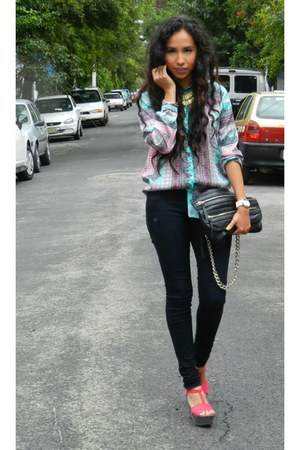 bubble gum Zara blouse - black Zara bag - hot pink Zara wedges