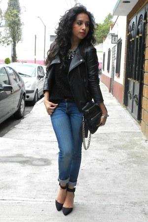 black leather jacket Zara jacket - black knit Mango sweater