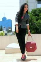 hot pink Zara wedges - gray Sasha blazer - red Zara bag - black Zara pants