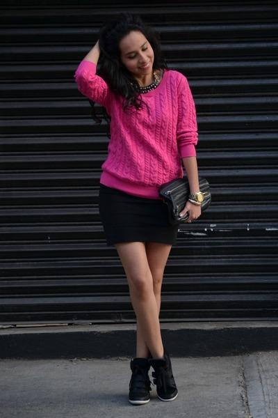pink h m sweaters black zara skirts black high top
