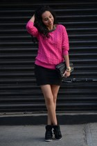 hot pink H&M sweater - black Zara skirt - black high top GoJane sneakers