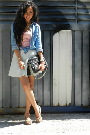 coral Zara top - sky blue denim shirt Zara shirt - black Zara bag