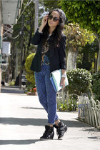 black Zara blazer - dark gray Zara shirt - blue Zara bag - navy Forever21 pants