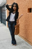 navy Zara necklace - navy pull&bear jeans - black Zara blazer