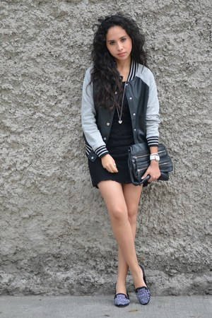 black varsity jacket Forever 21 jacket - black lace Zara dress