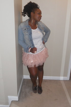 light pink tutu skirt Forever21 skirt - denim jacket Abercrombie &  Fitch jacket