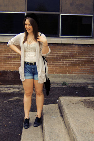 black vintage hat - black Aldo shoes - blue H&M shorts - white Forever 21 top -