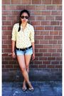 Black-sunglasses-yellow-thrifted-top-blue-forever-21-shorts-beige-shoes-