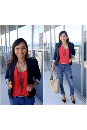 black banana republic blazer - black shoes - navy jeans - ruby red J Crew top