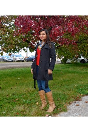 ann taylor sweater - banana republic coat - JCrew jeans - ann taylor belt