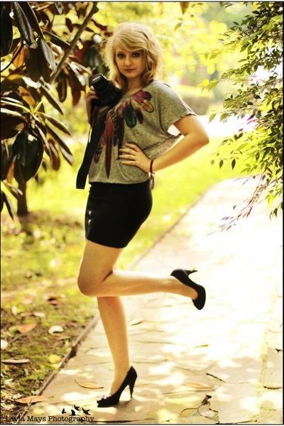 silver Forever 21 shirt - black Target skirt - black Rocket Dog heels