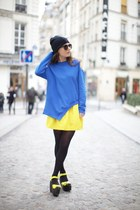 yellow asos skirt - blue sweatshirt - yellow asos sandals