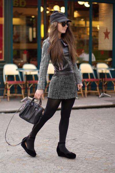 gray asos hat - black Zara bag - olive green Forever 21 skirt