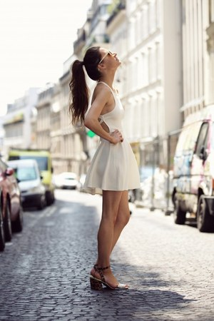 white dress - brown sandals
