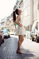 white dress - brown sandals