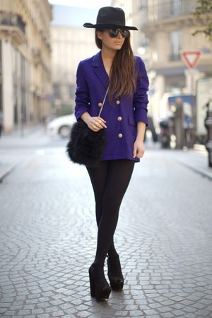 deep purple coat - black Zara heels