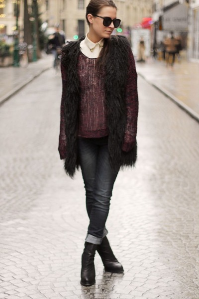 dark gray asos jeans - maroon Fashion Union sweater - black asos vest