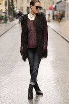 dark gray asos jeans - maroon Fashion Union sweater - black asos vest