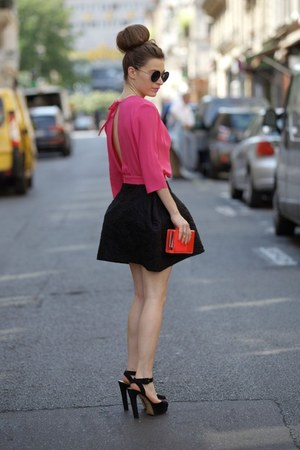 hot pink GEEKS & STITCHES dress - black Zara heels