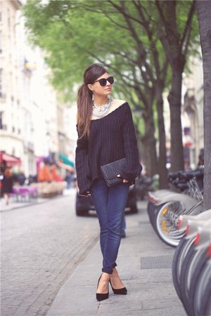 navy mih jeans - black asos sweater