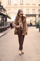 beige heels - light brown vest - dark brown pants