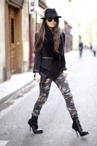 black blazer - dark khaki pants