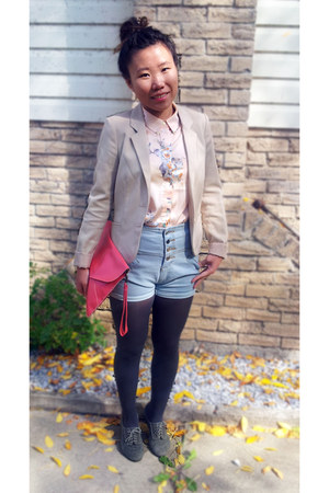 peach floral print H&M shirt - heather gray suede Jeffrey Campbell shoes
