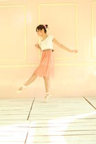 white shirt - brown belt - pink skirt - pink shoes