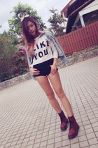 blue jacket - brick red Dr Marten boots - black highwaist Topshop shorts