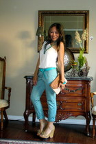 sea green Forever 21 pants - off shirt papaya shirt - Aldo purse