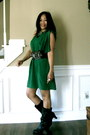 Brown-guess-boots-green-asoscom-dress-brown-vintage-belt-necklace