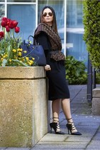 black rachel roy dress - tote Prada bag - gladiator Topshop heels
