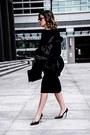 Black-racheal-roy-dress-faux-fur-ivanka-trump-jacket-aquzzura-heels