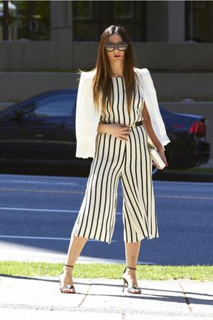 white Zara blazer - white clutch Aldo bag - stripe romper Forever 21 bodysuit