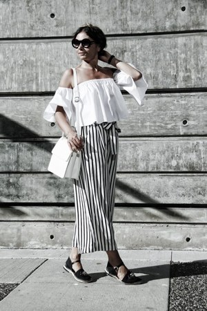 striped Zara pants - Chanel sunglasses - Zara top