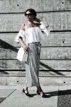 striped Zara pants - Chanel sunglasses - Zara top