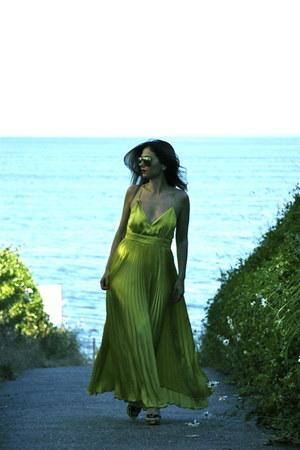 maxi dress asos dress - cross body Louis Vuitton bag - aviator rayban glasses