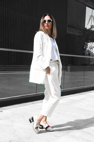 Zara suit - Zara bag - Gucci heels