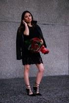 lace Forever 21 dress - leather Zara jacket - shoes Topshop heels