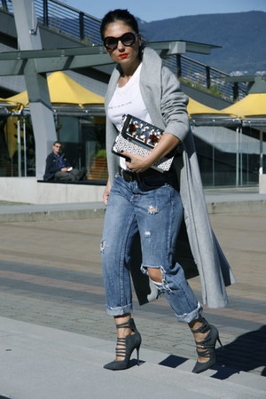 grey Sheinside coat - boyfriend jeans Scoop Vancouver jeans - clutch Aldo bag