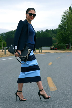 striped Zara skirt - blue Zara blazer - shoulder bag Gucci bag