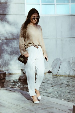 white Zara shoes - oversized oakfort sweater - trousers oak fort pants