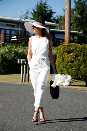 floppy hat Forever 21 hat - white jumpsuit Forever 21 romper