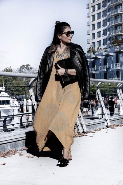 flats Zara shoes - maxi mitusufashion dress - leather Zara jacket